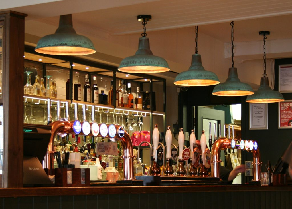 Kings Arms Pub bury St Edmunds bar and feature bar lighting